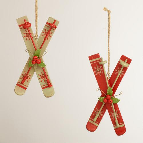 Wooden Skis Ornaments, Set of 2