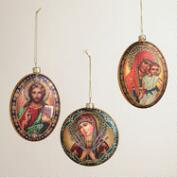 Glass Icon Disc Ornaments, Set of 3