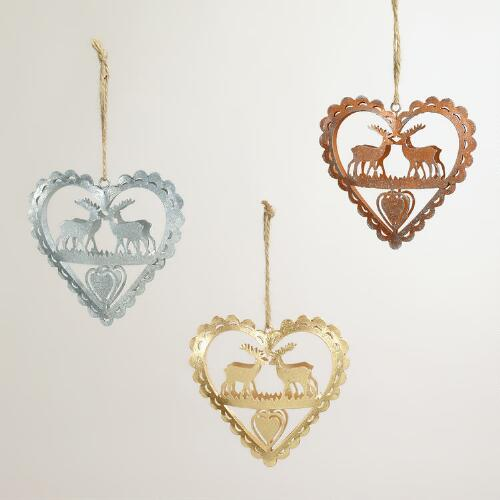 Metal Deer in Heart Ornaments, Set of 3
