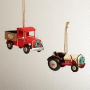 Metal Truck and Tractor Ornaments, Set of 2