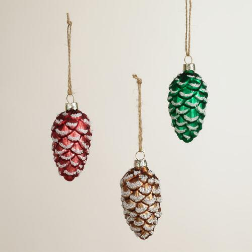 Frosty Glass Pinecone Ornaments, Set of 3