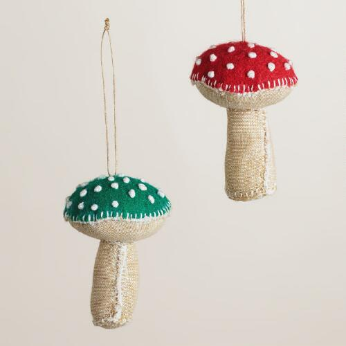 Felt and Linen Mushroom Ornaments, Set of 2