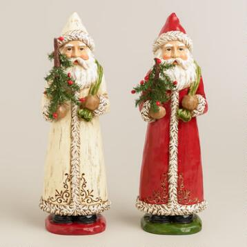 Paper Pulp Folk Art Santas, Set of 2