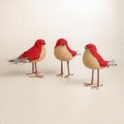 Red Burlap Birds, Set of 3