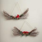 Red Bird Swag Wreaths, Set of 2