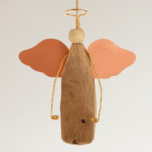 Driftwood and Metal Angel  Ornament