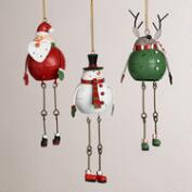 Metal Santa, Snowman and Deer Ornaments, Set of 3