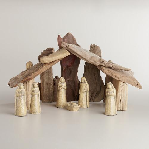 Large Driftwood Nativity Scene,  7-Piece