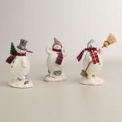 Paper Pulp Snowmen,  Set of 3