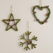 Mossy Heart, Snowflake & Star Wall Decor, Set of 3