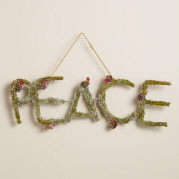 Mossy Pinecone  Peace Wall Decor
