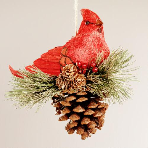 Natural-Fiber Cardinal on Pinecone