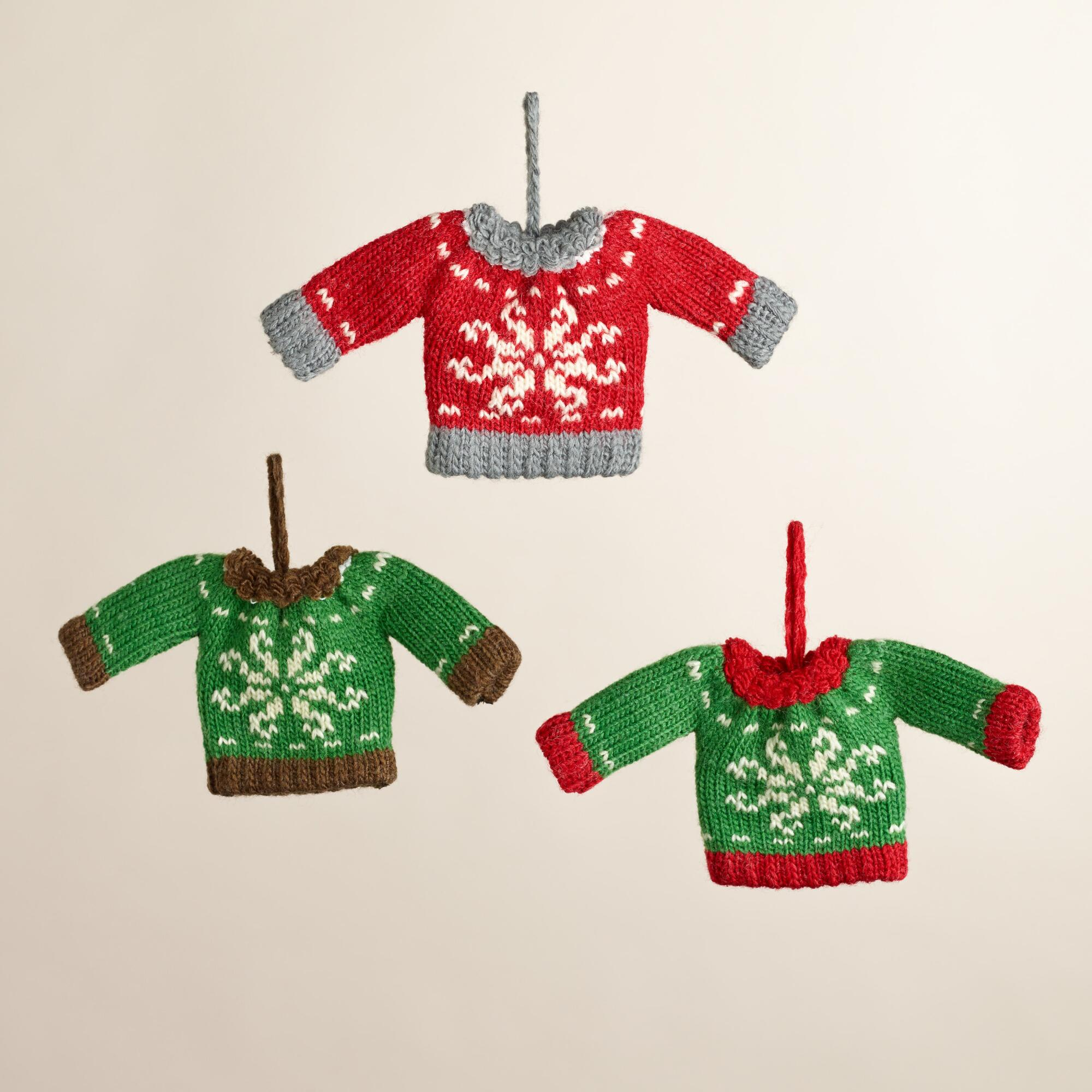 Knitted Christmas Decorations To Buy : Mini knit sweater ornaments set of world market