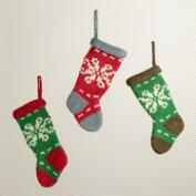 Mini Knit Stocking Ornaments,  Set of 3