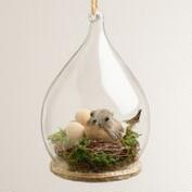 Bird Nest Glass Cloche Ornament