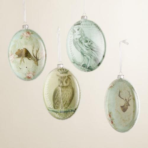 Deer and Owl Glass Disc Ornaments
