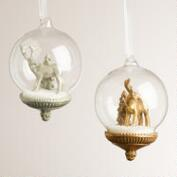 Deer Glass Snow Globe Ornaments, Set of 2