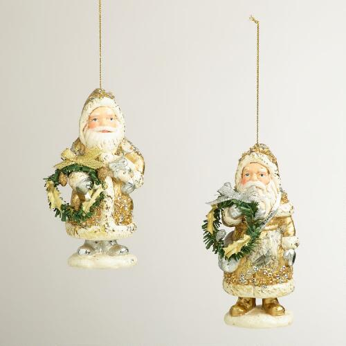 Gold Foil Paper Pulp Santa Ornaments, Set of 2