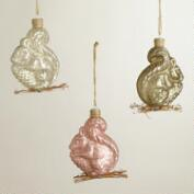Mercury Glass Squirrel Ornaments, Set of 3