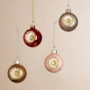 Glittered Glass Reflector Ball Ornaments, Set of 4