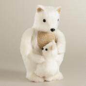 White Fabric Polar Bear with Baby