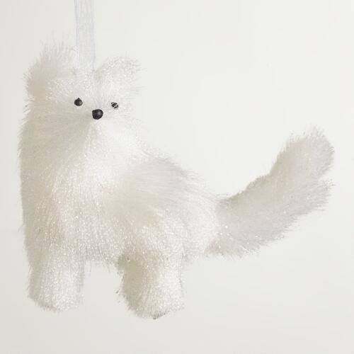 White Fabric  Fox Ornament