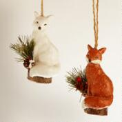 Paper Pulp  Fox Ornaments, Set of 2