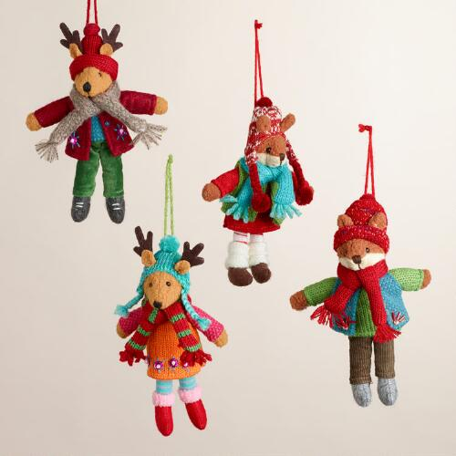 Fabric Fox and Deer Ornaments, Set of 4