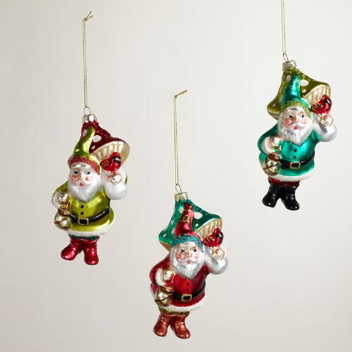 Glass Gnome with Mushroom Ornaments, Set of 3