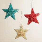 Glittered Bottlebrush Star Ornaments, Set of 3