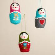 Felt Russian Doll Ornaments, Set of 3