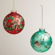Retro Glass Ball Ornaments, Set of 2
