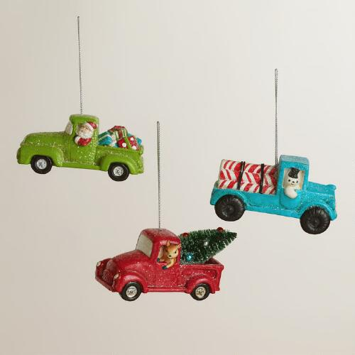 Paper Pulp Pickup Truck Ornaments, Set of 3