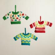 Knit Sweater Ornaments, Set of 3
