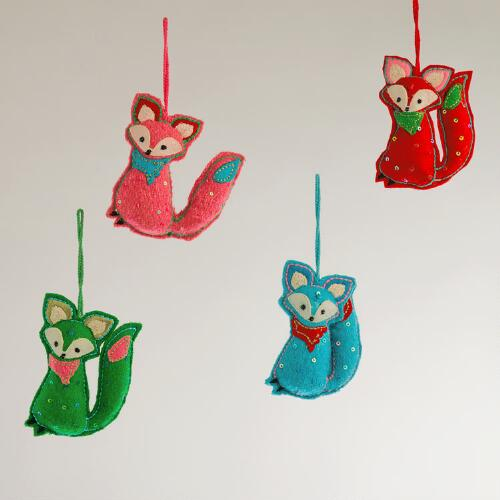 Felt Fox Ornaments,  Set of 4