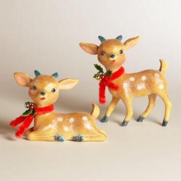 Glittered Paper Pulp Deer,  Set of 2