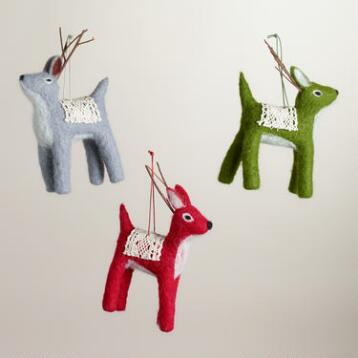 Felt Deer with Crochet Ornaments, Set of 3