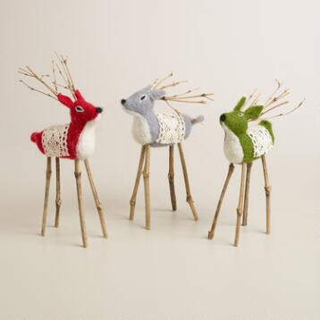 Felt Deer, Set of 3