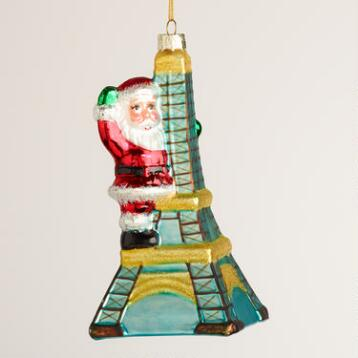Glass Santa Eiffel Tower  Ornament