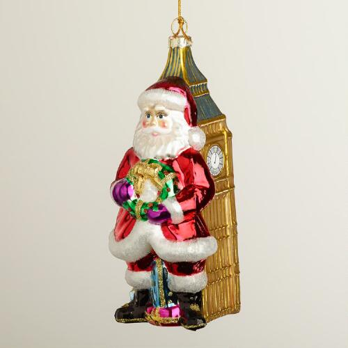 Glass Santa Big Ben Ornament