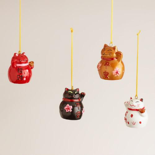 Lucky Cat  Ornaments, Set of 4