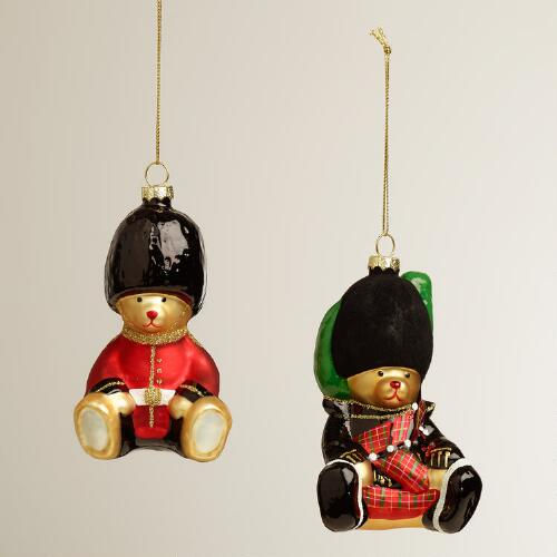 Glass UK Bear Ornaments, Set of 2