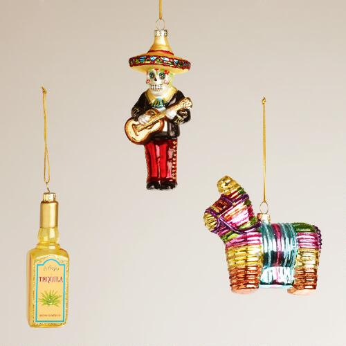 Mexico Glass  Ornaments, Set of 3