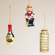 Italy Glass Ornaments,  Set of 3