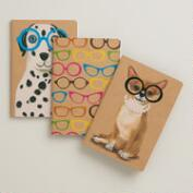 Pets and Neon Glasses Kraft Journals, 3-Pack