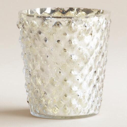 Silver Hobnail Mercury Glass Tealight  Candle Holder