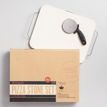 Pizza Stone Set with Chrome Serving Rack