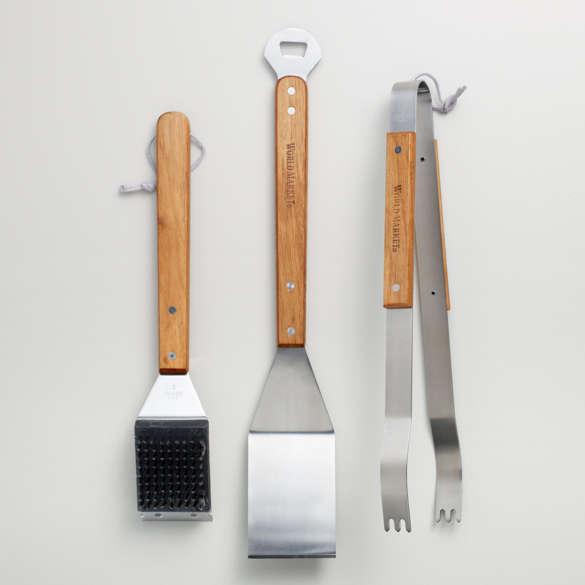 Stainless steel piece grilling tool set world market