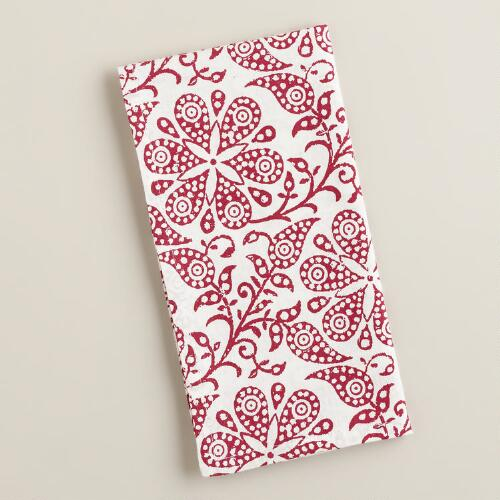 Red Floral Block Print Napkins, Set of 4
