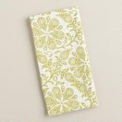 Green Floral Block Print Napkins, Set of 4